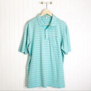 Peter Millar tailored fit blue short sleeve shirt